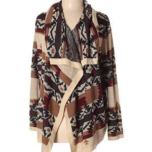 UNDER SKIES Aztec Print Open Cardigan Sweater